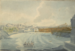 f.20 Poona with hill of Parvati. Boat with Indian sepoy in foreground. 'Poonah, Parbutty & Shinghur'.